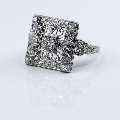 Square Edwardian Cocktail Ring
