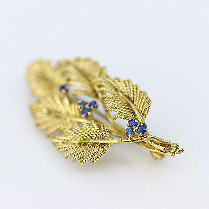Tiffany Sapphire Gold Leaves Brooch