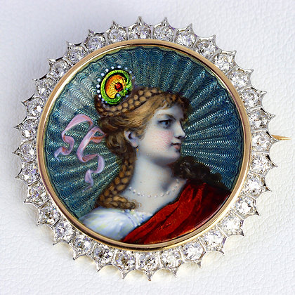 Antique enamel portrait brooch - pendant
