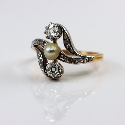 Edwardian Pearl Diamond Crossover Ring