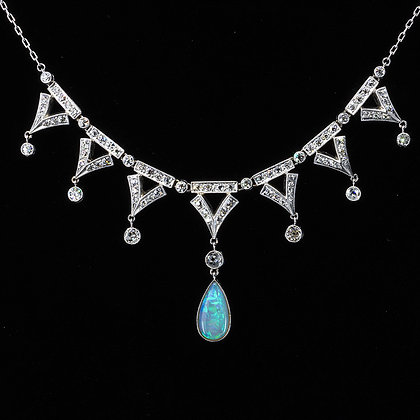 Platinum Diamond Opal Festoon