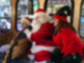 Santa and Elf on Trolley