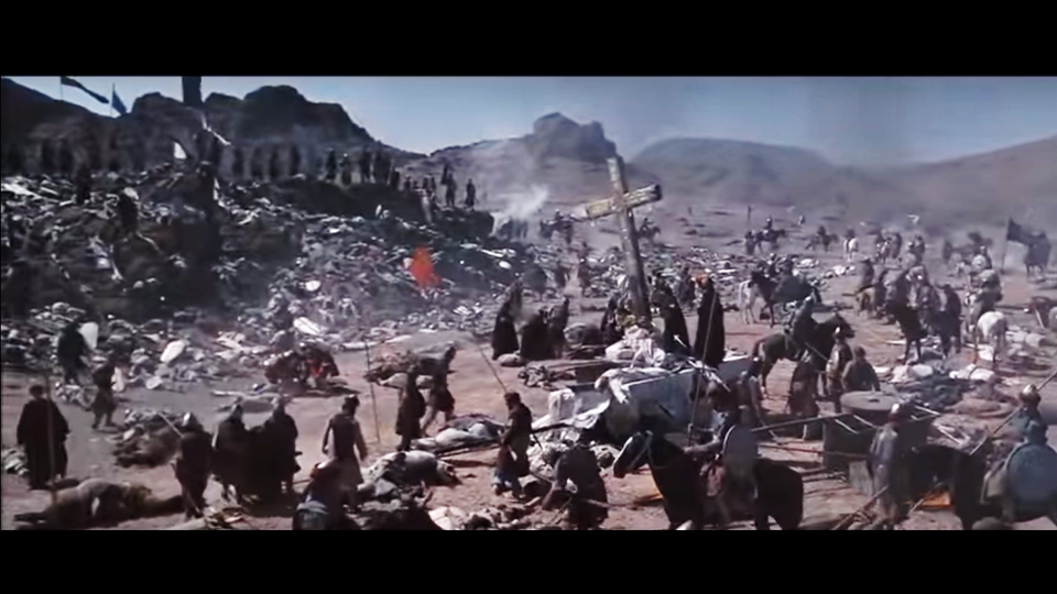 """O terrível resultado da batalha. Cena de """"Cruzada""""."""