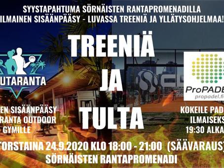 TREENIÄ JA TULTA 24.9.2020 KLO 18-21