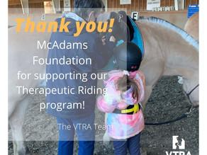 Thank you McAdams Foundation!