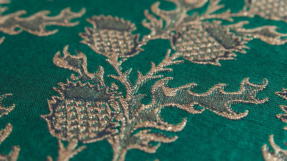 Mokosh  wrap Thistle Emerald and gold