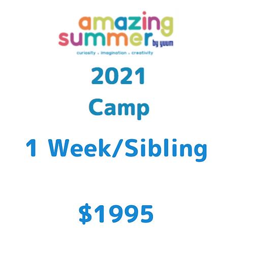 Pago de 1 semana/ hermano de Amazing Summer Camp 2021