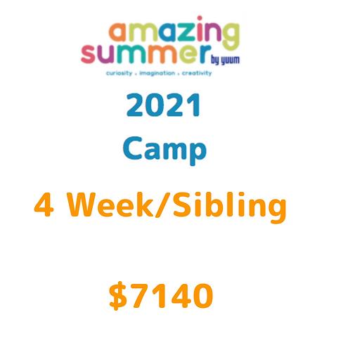 Pago de 4 semanas/ hermano de Amazing Summer Camp 2021