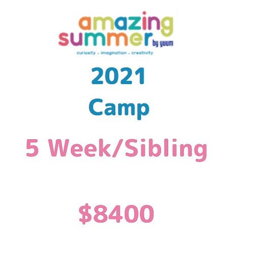 Pago de 5 semanas/ hermano de Amazing Summer Camp 2021