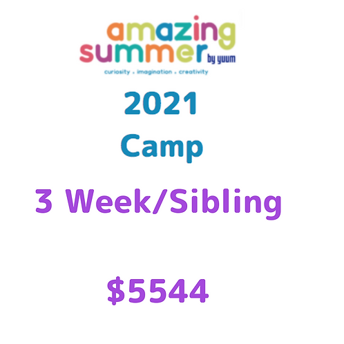 Pago de 3 semanas/ hermano de Amazing Summer Camp 2021