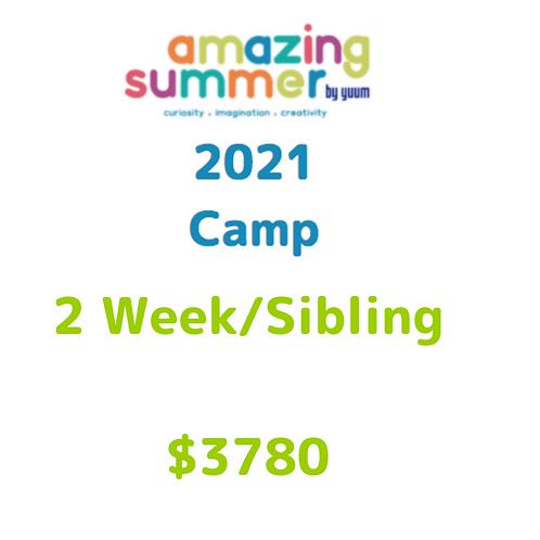 Pago de 2 semanas/ hermano de Amazing Summer Camp 2021