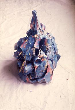Blue Mass, 75 x 75 x 90cm, Acrylic paint on found objects. 1976