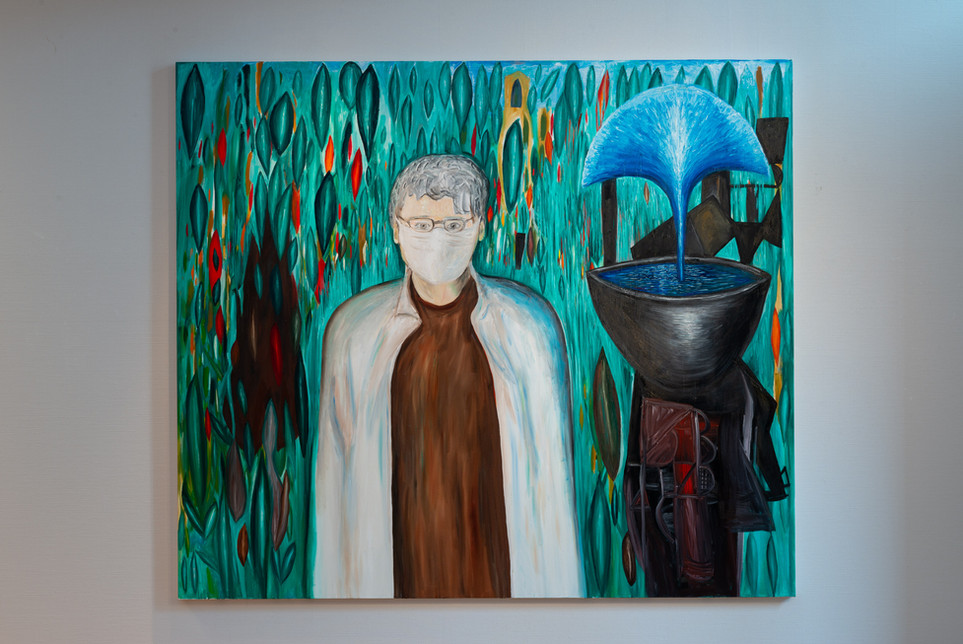 Mask and Fountain, 2021. Oil on canvas210cm x 240cm
