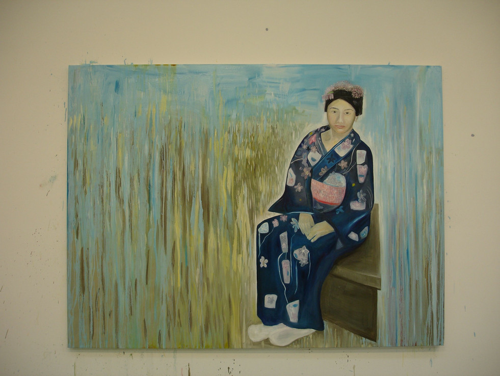 Kumiko Dressed in a Yukata in a Dissolving Room 182 x 213cm Oil on Canvas 2010