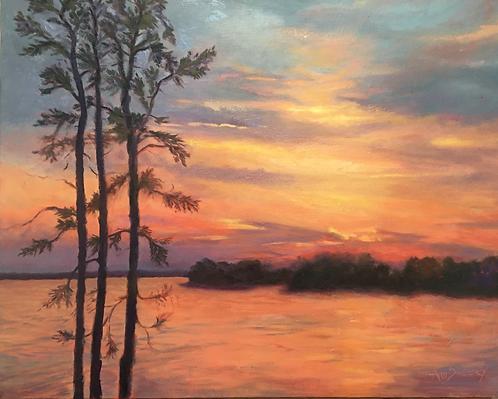 Red Sunset at Lake Murray