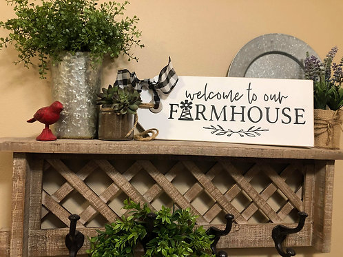 White Welcome to our Farmhouse Shelf Sitter