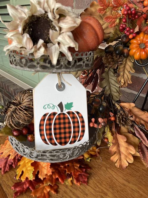 Mini Plaid Pumpkin Shelf Sitter