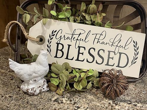 Grateful, Thankful, Blessed Large Shelf Sitter