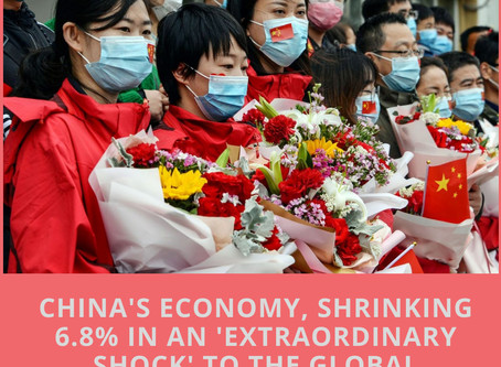 China's economy suffers its first contraction in 28 years, shrinking 6.8% in an 'extraordinary shock