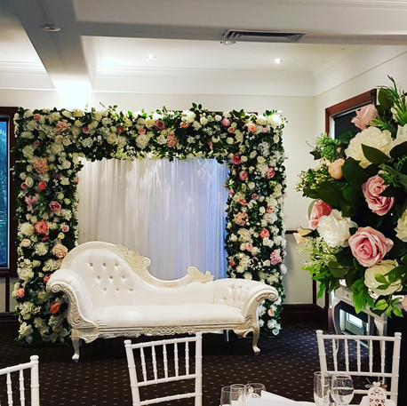 Wedding Photobooth Flower Arch and Chaise