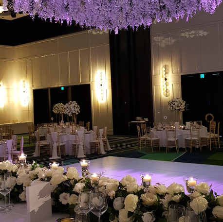 Huge Hanging Flower Display, Wedding Reception and Floral Runner
