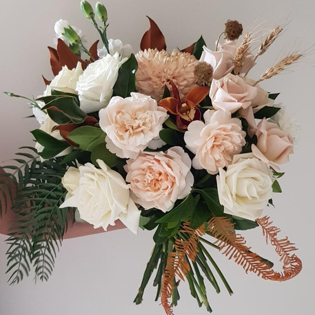 Bridl posy, Orange and Peach Roses and Orchids