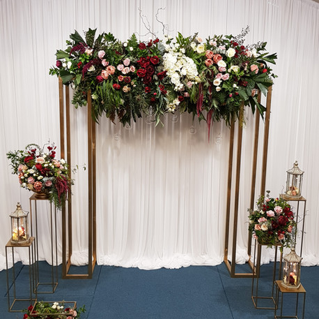 Ceremony Arch Setup, Gold Frame
