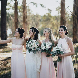 Bride and Bridemaids with Bouquets, pink and white