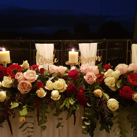 Bridal Table Flowers, Candles