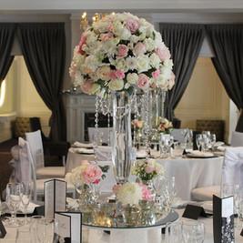 Pink and White Elegant Wedding Reception Centrepieces, Crystal Vase