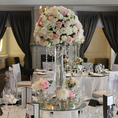 Pink and White Elegant Wedding Reception Centrepieces, Crystal Vase