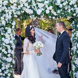 White Wedding Ceremony, Bride and Groom, Wedding Arch