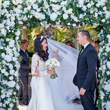 White Wedding Ceremony, Bride and Groom, Wedding Arch