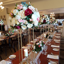 Gold Flower Tower Centrepiece with Silk Flowers