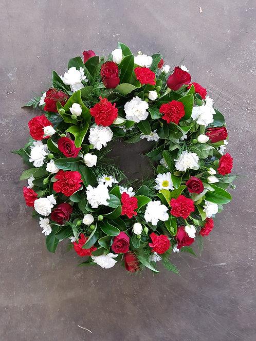 Red and White Medium wreath