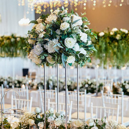 White Floral runner and centrepieces, Hanging Light Display