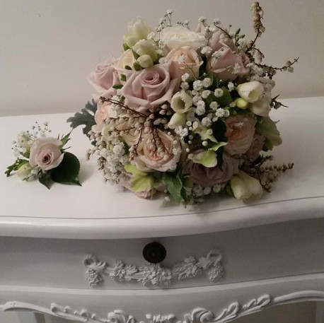 Fairytale Pastel and Lilac Bridal Posy and Buttonhole