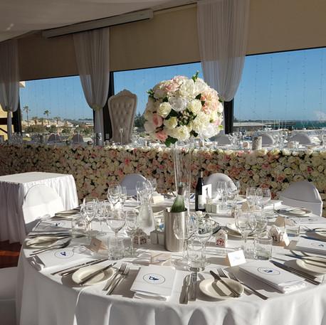 Peach and White Wedding Reception, Bridal Flower Wall