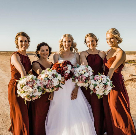 Bridal Party with Bouquet, Burnt Orange
