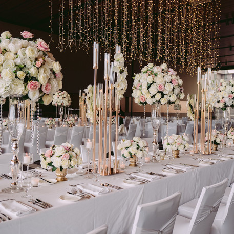 Long Table Pastel Wedding Centrepieces, Rose Gold Candelabra, Hanging Light Display