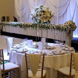 White Wedding Reception, Backdrop, tiffany Chairs