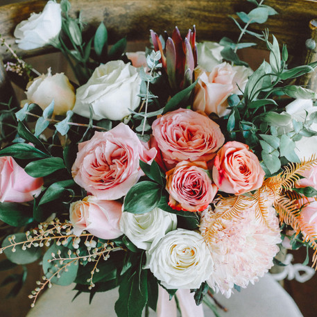 Unstructured Bridal Bouquet, Peach and Coral