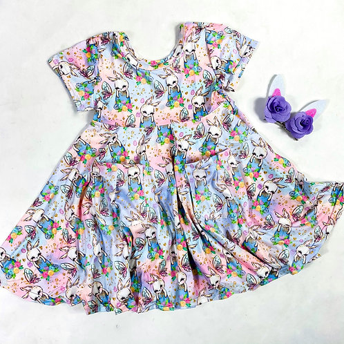 Floral Bunny pockets dress