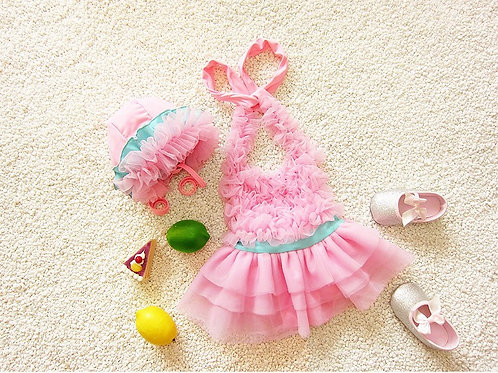 Pink Ruffle swimsuits set