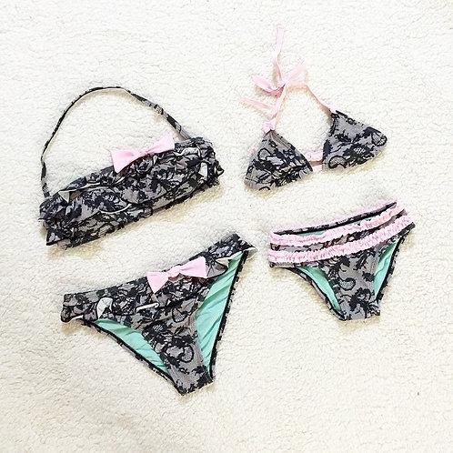 Lace pink bikini set