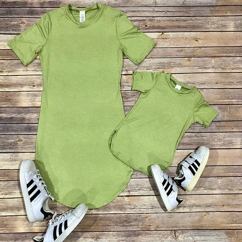 Tiffany dress mommy & me (mauve/ sage green)