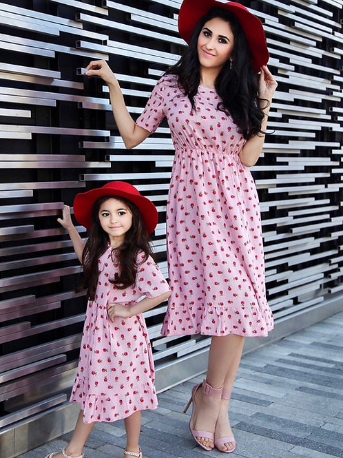 Hazel Rose Midi dress mommy & me ( pink or blue)