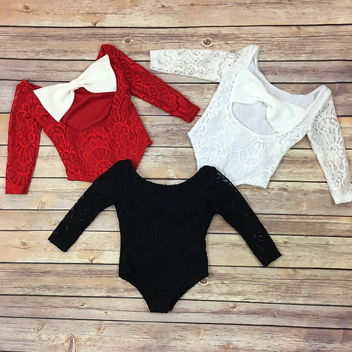 Bow lace leotards