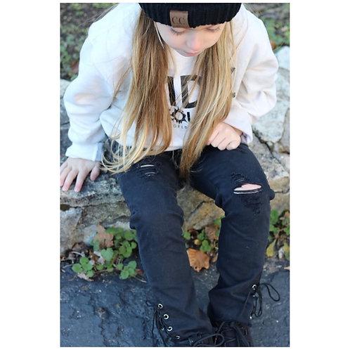 Side lace jeans