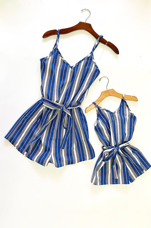 V neck Stripe rompers mommy & me - blue